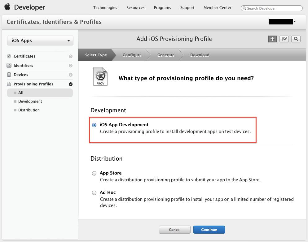 またデバッグ版とリリース版で分かれてるんですか…-- Select Provisioning Profile Type --