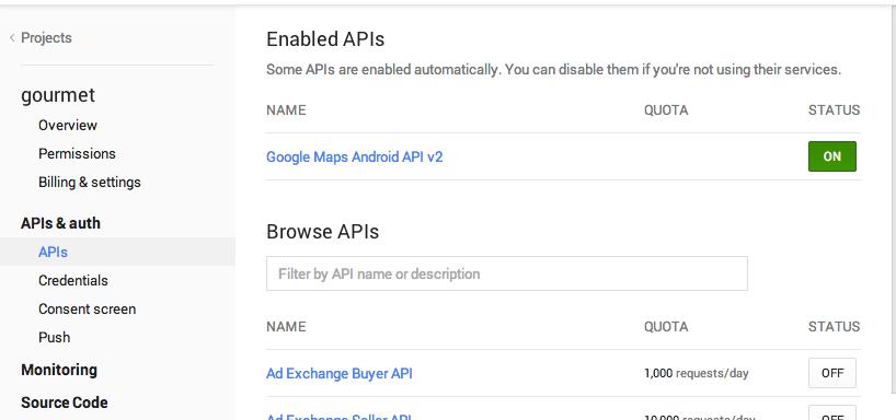 図4. Google Map APIの活性化