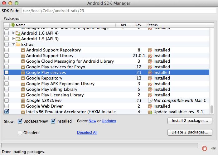 図1.Android SDK Manager